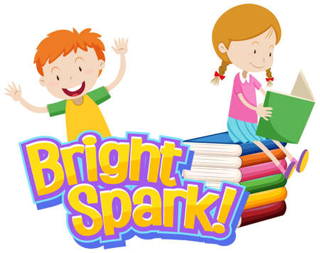 Font design for word bright spark with kids reading book illustration