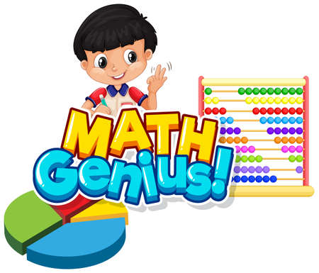 Font design for word math genius with cute boy and abacus illustration  イラスト・ベクター素材