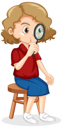 Cute girl looking through magnifying glass illustration