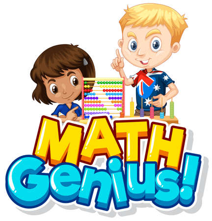 Font design for math genius with two children counting illustration