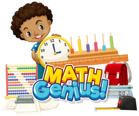 Font design for word math genius with happy boy illustration