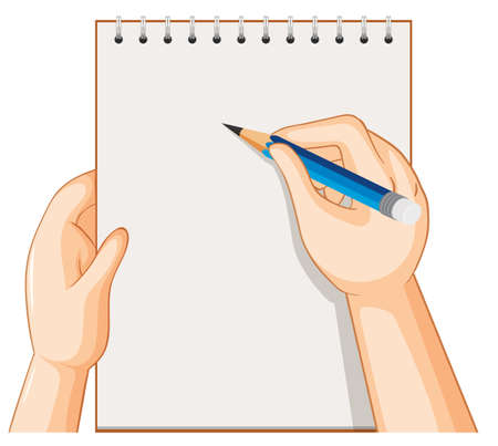 Empty notebook and hand with pencil on white background illustration Ilustração