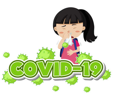 Covid 19 sign template with sick girl coughing illustration Standard-Bild - 143877754