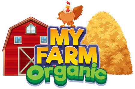 Font design for word my farm with chicken and barn illustration  イラスト・ベクター素材
