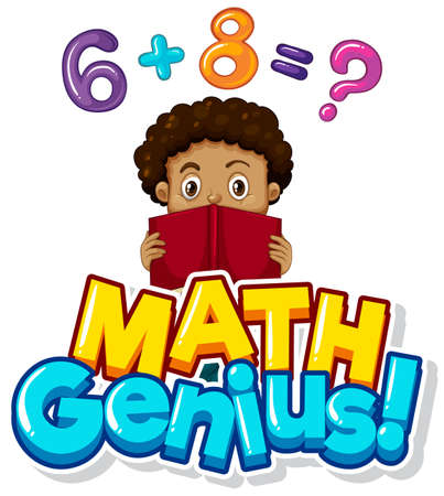 Font design for math genius with boy doing homework illustration