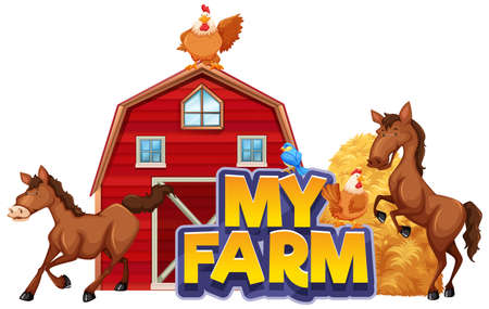 Font design for word my farm with many animals illustration
