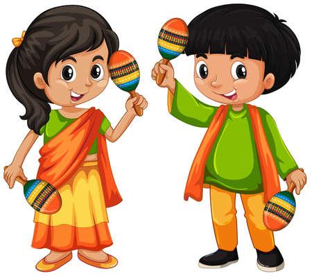 India kid holding maracas on white background illustration