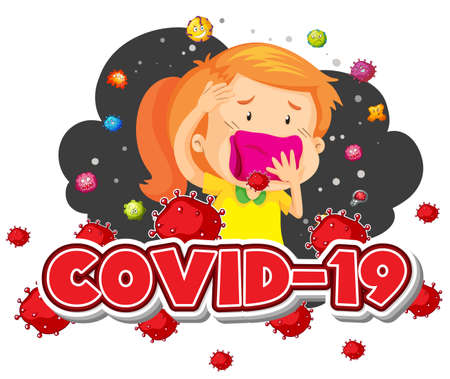 Covid 19 sign template girl and many virus in background illustration Standard-Bild - 143877993