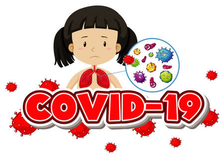 Poster design for coronavirus theme with girl and sick lungs illustration Standard-Bild - 143878030