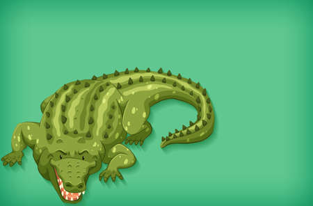Background template design with plain color and green crocodile illustration