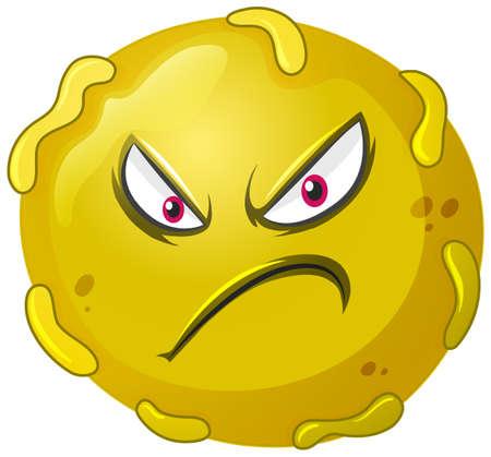 Close up virus cell on white background illustration