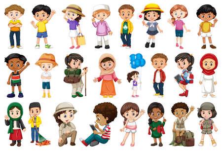 Large set of children doing different activities  illustration