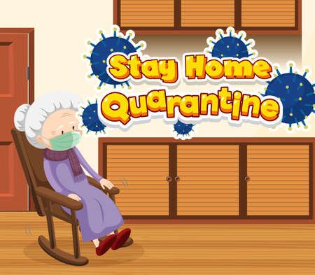 Scene with old woman staying at home alone illustration