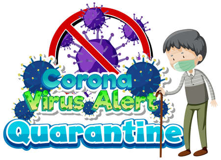 Poster design for coronavirus theme with old man being sick illustration Ilustração