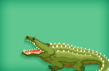 Background template design with plain color and crocodile illustration 向量圖像