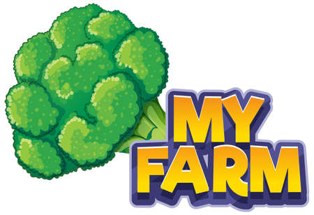 Font design for word my farm with fresh brocolli illustration