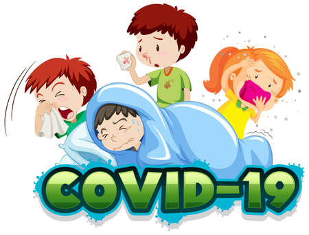 Covid 19 sign template with many sick children illustration