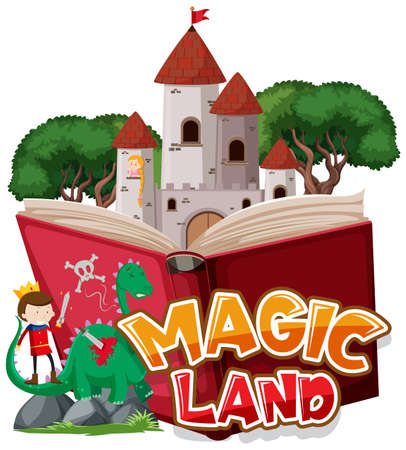 Font design for word magic land with dragon and prince illustration