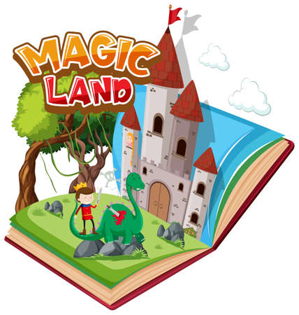 Font design for word magic land with prince and dragon illustration 向量圖像