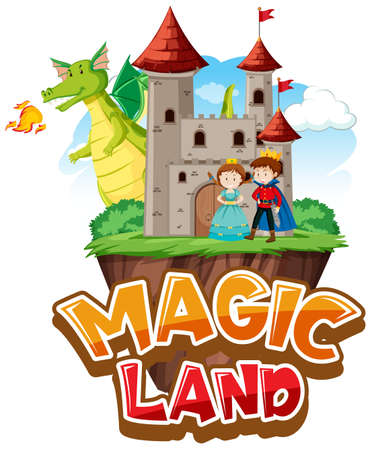 Font design for word magic land with dragon and princess illustration 向量圖像
