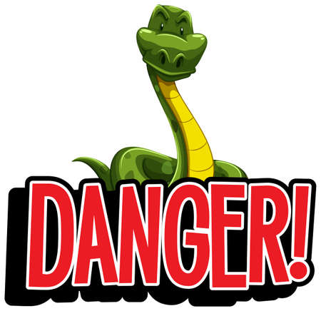 Font design for word danger with wild snake illustration