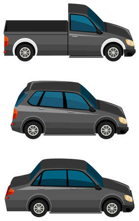 Set of black cars on white background illustration Illustration