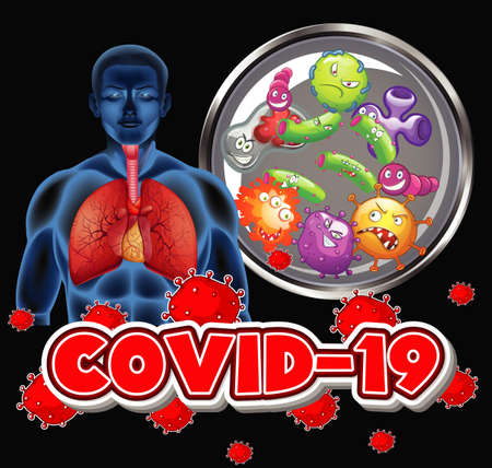 Coronavirus theme with human and virus cells in lungs illustration