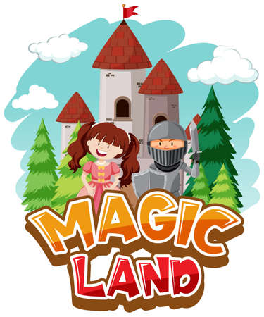 Font design for word magic land with princess and knight illustration 向量圖像