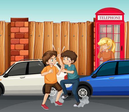 Domestic violence scene with people fighting on the street illustration Ilustracja