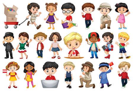 Large set of children doing different activities illustration Vector Illustratie
