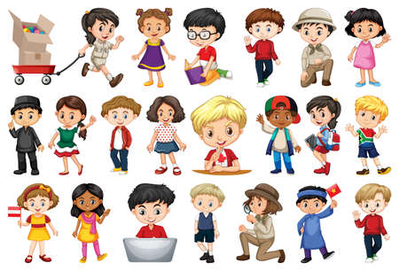 Large set of children doing different activities illustration Vettoriali