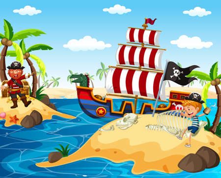 Pirate and happy boy sailing in the ocean illustration Ilustração