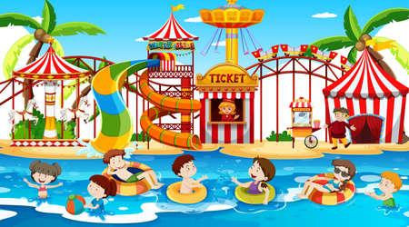 Scene with children swimming in the waterpark illustration Vektorové ilustrace