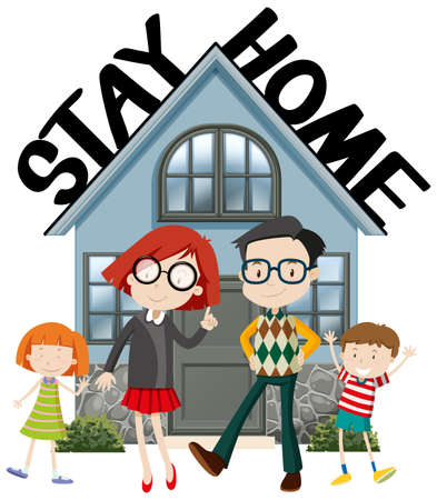 Poster design for coronavirus theme with word stay home illustration