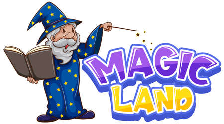 Font design for word magic land with old wizard illustration