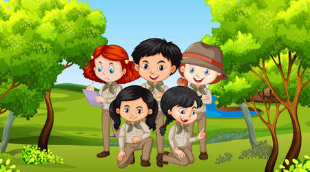 Scene with many children in the park illustration