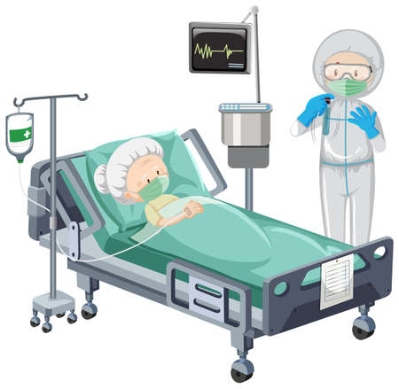 Hospital scene with sick patient in bed on white background illustration