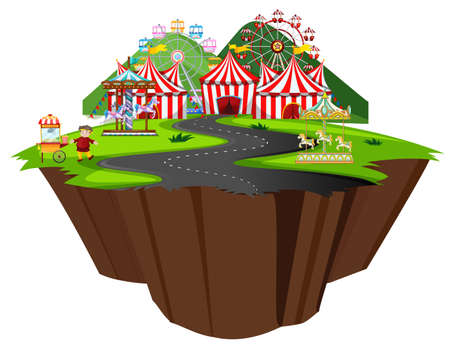 Scene with circus tent and many rides along the road illustration
