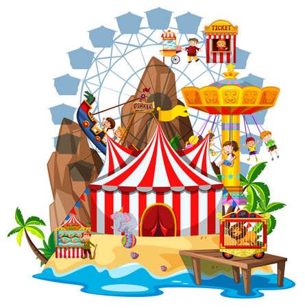 Scène avec de nombreux enfants jouant sur des manèges de cirque illustration Vecteurs