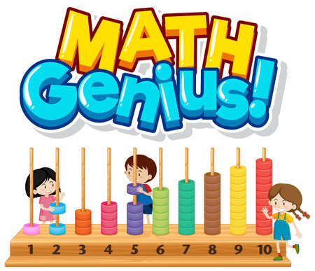 Font design for math genius with children and numbers illustration