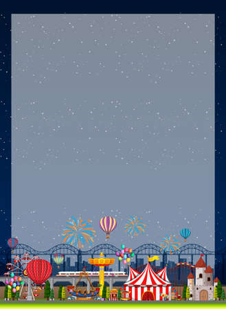 Border template with funpark in background illustration