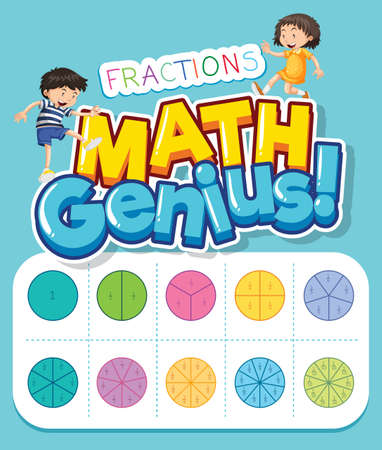 Font design for word math genius with kids and fractions illustration