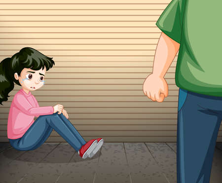 Scene with crying girl and angry man  illustration Ilustracja