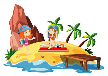 Ocean scene with two girls on the island illustration