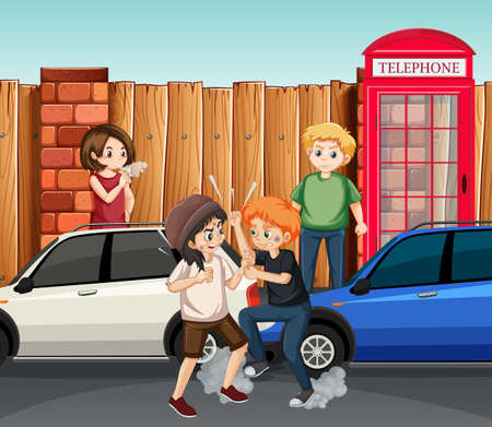 Domestic violence scene with people fighting on the street illustration
