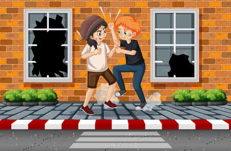 Domestic violence scene with people fighting on the sidewalk illustration