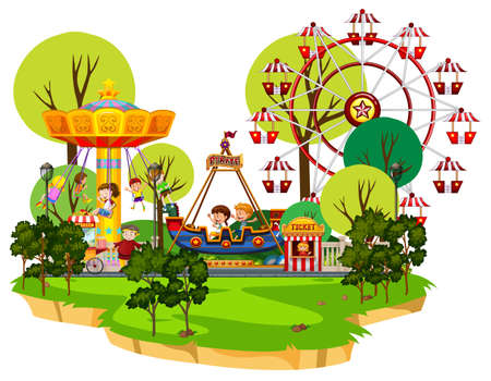 Scene with many children playing in the park illustration