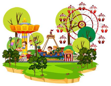 Scène avec de nombreux enfants jouant dans l'illustration du parc