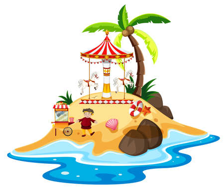 Ocean scene with circus ride on the island illustration