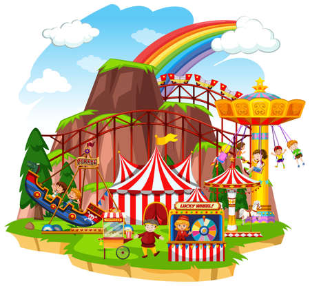 Scene with happy children playing on the circus rides illustration